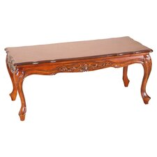 Carved Wood Coffee Table in Light Cherry