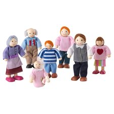 7 Piece Caucasian Doll Family Set