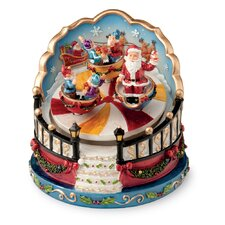 Santa and Elves in Twirling Cups Revolving Musical Figurine