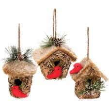 3 Piece Birdhouse Ornament Set