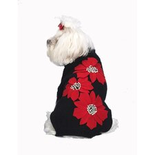 Poinsettia Applique Dog Sweater