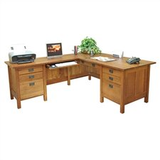 "Craftsman Home Office 72"" W Executive L-Computer Desk with Left Return"