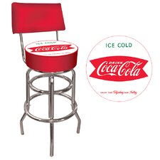 Coca Cola Vintage Coke Pub Stool with Back- Ice Cold Design
