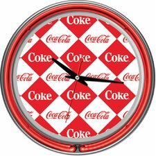 Checker Coca Cola Neon Clock with 2 Neon Rings