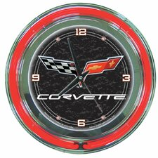 "Corvette C6 14"" Neon Wall Clock in Black"