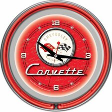 "Corvette C1 14"" Neon Wall Clock in Red"