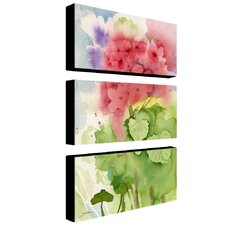 Pink Geranium by Sheila Golden Canvas Art (Set of 3)