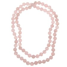 36 Inches Rose Quartz Knotted Necklace