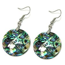 Round Abalone Shell Dangle Earrings
