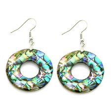Abalone Shell Silvertone Copper Cutout Dangle Earrings