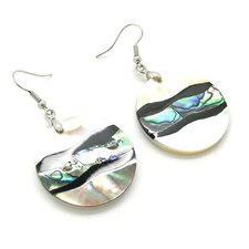 Fashion Abalone and Shell Round Dangle Fashion Earrings