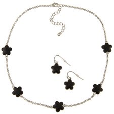 Silvertone Enamel Daisy Necklace and Earring Set