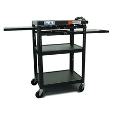 Height Adjustable AV Media Cart - Three Stationary Shelves / Two Pull-Out Shelves