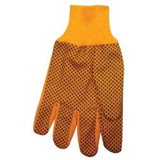 1000 Series Canvas Gloves 10 Oz Hi-Vis Orange Plastic Dot Canvas Glove: 101-1040 - 10 oz hi-vis orange plastic dot canvas glove