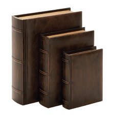 Library Wood Leather Book (Set of 3)