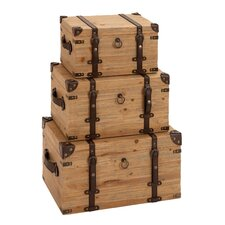 Vintage Look Wood Trunk (Set of 3)