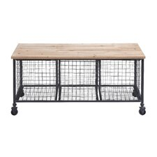 Metal Storage Bench with Basket