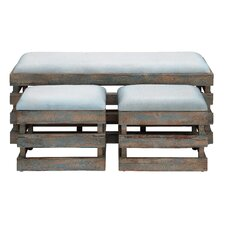 Wood Leather Stool (Set of 3)