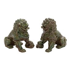 2 Piece Ceramic Chinese Lions Set