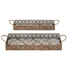 2 Piece Afghanis Serving Tray Set