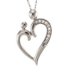 14k White Gold 1/10ct TDW Diamond Heart of Mother and Child Necklace