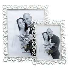 Wedding Open Heart with Crystals Picture Frame