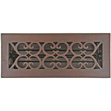"Registers and Vents 4.5"" x 11"" Scroll Floor Register in Bronze Patina"