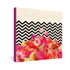Bianca Green Chevron Flora 2 Gallery Wrapped Canvas