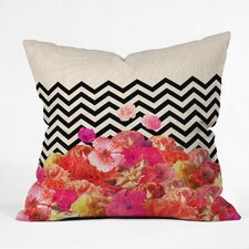 Bianca Green Chevron Flora 2 Polyester Throw Pillow