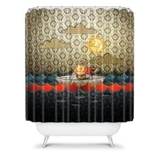 Jose Luis Guerrero Woven Polyester Paper Boat Shower Curtain