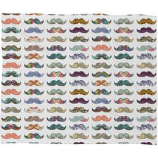 Bianca Green Mustache Mania Polyester Fleece Throw Blanket