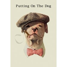 Dog in Hat and Bow Tie Smoking a Cigar Canvas Art