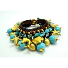 Turquoise and Brass Beads Bracelet