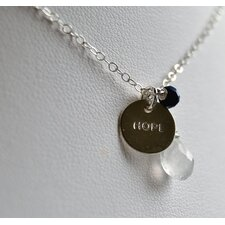 Rainbow Moonstone, Lapis and a Hand Stamped Sterling Silver Necklace