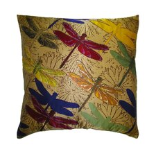 Flower Power Dragonfly Silk Pillow
