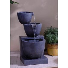 Polyresin and Fiberglass Tiered Modern Bowls Water Fountain