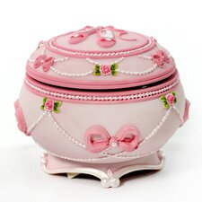 Ballerina and Bows Hinged Trinket Box