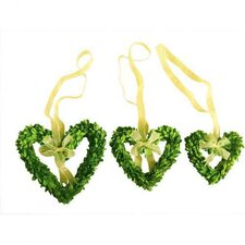 Boxwood Wreath Set Hearts with Ribbon