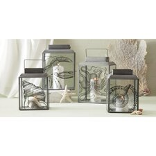 Watercolors Sea Life Pillar Candle Holder (Set of 4)