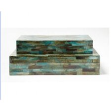La Mer Verdigris Covered Boxes (Set of 2)