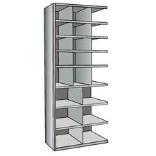 "Hi-Tech Metal Bin Shelving Add-on Unit (12) 12"" W x 9"" H, (3) 12"" W x 12"" H, (6) 18"" W x 12"" H Bins"