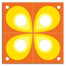 "Earth Quads 8-1/2"" x 8-1/2"" Satin Decorative Tile Quad in Mod Flod Orange"