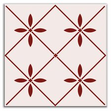 "Folksy Love 4-1/4"" x 4-1/4"" Satin Decorative Tile in Glass Burgundy"
