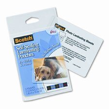 Self-Sealing Laminating Pouches, 9.6 mils, Wallet to 2-1/2 x 3-1/2, 5/Pk