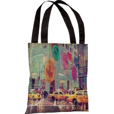 Oliver Gal NYC Fashion Taxi Polyester Tote Bag