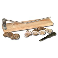 Oyster Opener on Wooden Base and Oyster Knife