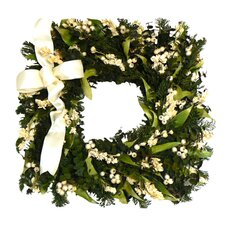 Evergreen Frost Square Wreath