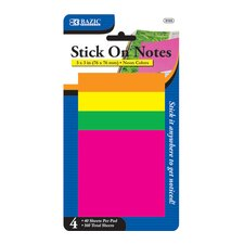 Neon Stick On Notes (Set of 4)