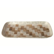 Capiz Mosaic Rectangular Tray with Rounded Corner