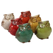 Ceramic Owl Statues (Set of 6)